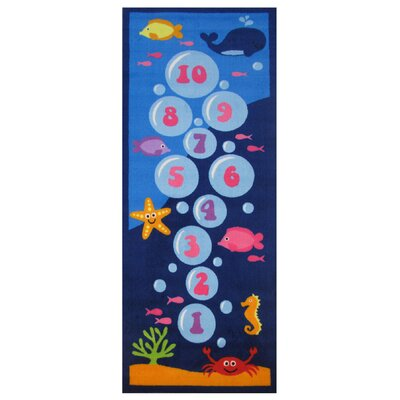 Fun Time Underwater Hopscotch Blue Area Rug Rug Size: 17 x 25