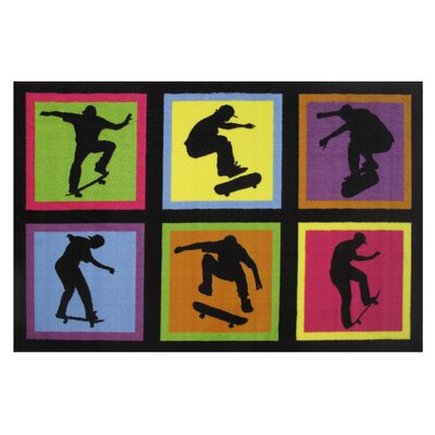 Fun Time Skateboarding Area Rug Rug Size: 17 x 25