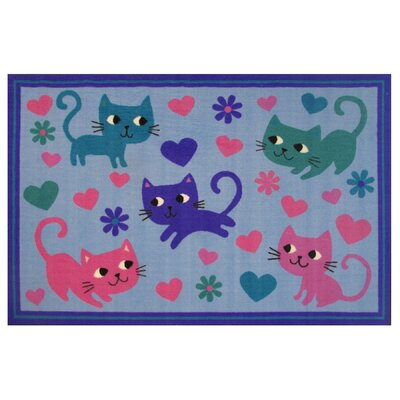 Fun Time Kitty Cats Blue Area Rug Rug Size: 17 x 25