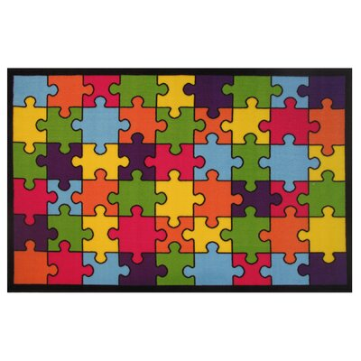 Fun Time Jigsaw Puzzle Machine Woven Blue/Green/Red Area Rug Rug Size: Rectangle 33 x 410