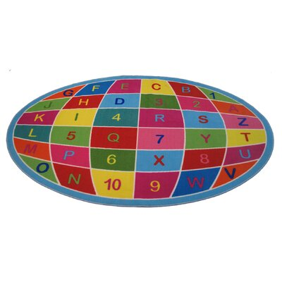 Fun Time Alpha Numeric Globe Area Rug Rug Size: 43 x 66