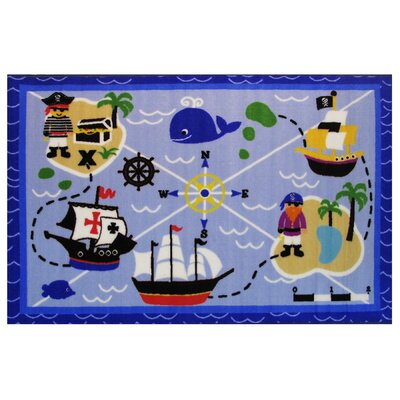 Fun Time Buried Treasures Blue Area Rug Rug Size: 17 x 25