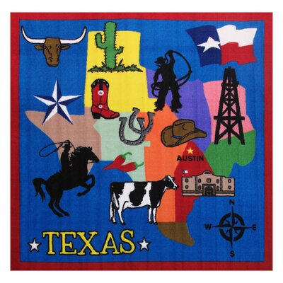 Fun Time Texas Blue Area Rug