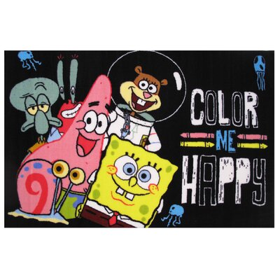 SpongeBob Color Me Happy Area Rug Rug Size: 17 x 25