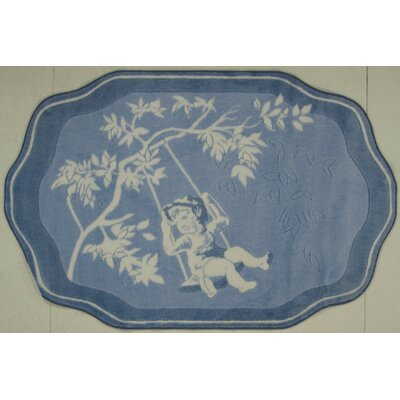 Supreme Blue Toile Brown/Blue Area Rug Rug Size: 3'3