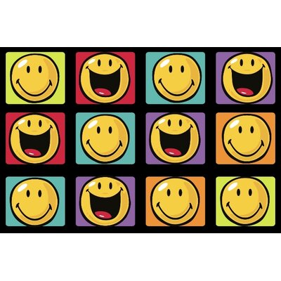 Smiley World Happy and Smiling Yellow Area Rug Rug Size: 17 x 25