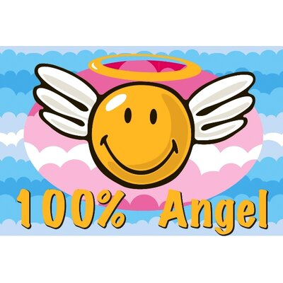 Smiley World Smiley Angel Area Rug Rug Size: 17 x 25