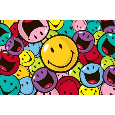 Smiley World Smiles and Laughs Area Rug Rug Size: 17 x 25