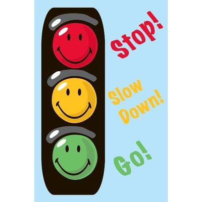 Smiley World Traffic Signal Blue Area Rug Rug Size: 33 x 410