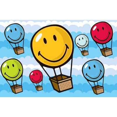 Smiley World Hot Air Balloon Area Rug Rug Size: 17 x 25
