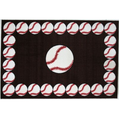 Fun Time Baseball Time Dark Chocolate Brown Area Rug Rug Size: 17 x 25