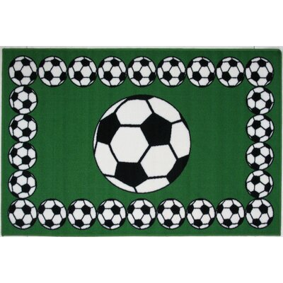 Fun Time Soccer Time Area Rug Rug Size: 17 x 25
