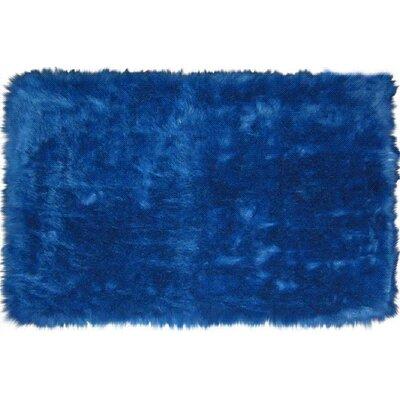 Flokati Dark Blue Area Rug Rug Size: 33 x 410