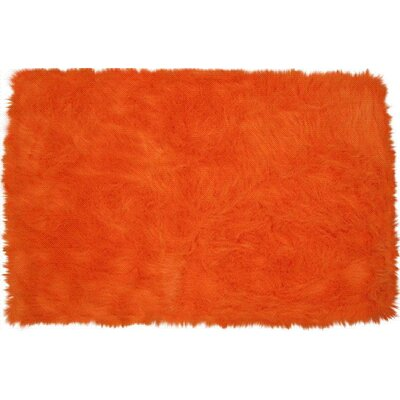 Flokati Orange Area Rug Rug Size: Rectangle 27 x 311