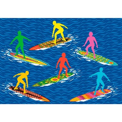 Surf Time Surfs R Us Blue Area Rug Rug Size: 33 x 410