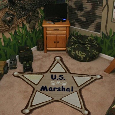 Fun Shape High Pile U.S. Marshall Brown Kids Rug Rug Size: 27 x 27