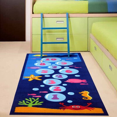 Fun Time Underwater Hopscotch Blue Area Rug Rug Size: 26 x 66