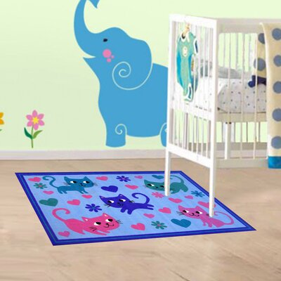 Fun Time Kitty Cats Blue Area Rug Rug Size: 33 x 410