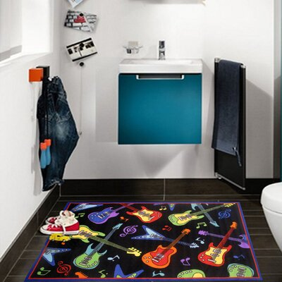 Fun Time Guitars Black Area Rug Rug Size: 43 x 66