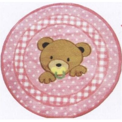 Supreme Teddy Center Pink Bear Area Rug Rug Size: Round 33