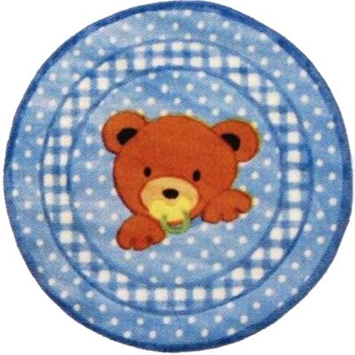 Supreme Teddy Center Blue Bear Area Rug Rug Size: Round 33
