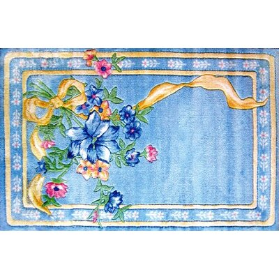 Supreme Flower Ribbon Blue Area Rug Rug Size: 33 x 410