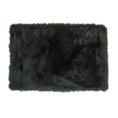 Flokati Black Area Rug Rug Size: 27 x 311