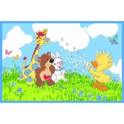 Suzy Zoo Witzy Makes A Wish Blue Area Rug Rug Size: 33 x 410