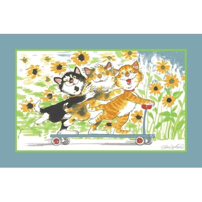 Wags and Whiskers Duckport Kitties Take A Ride Area Rug Rug Size: 33 x 410