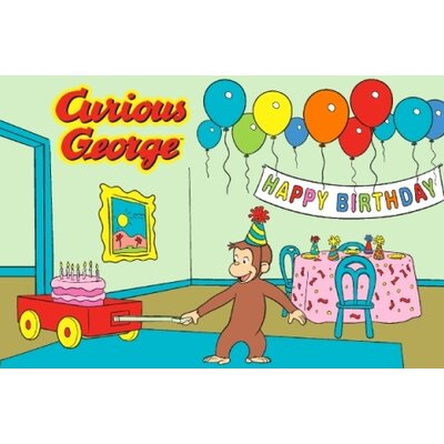 Curious George Birthday Kids Rug Rug Size: 17 x 25