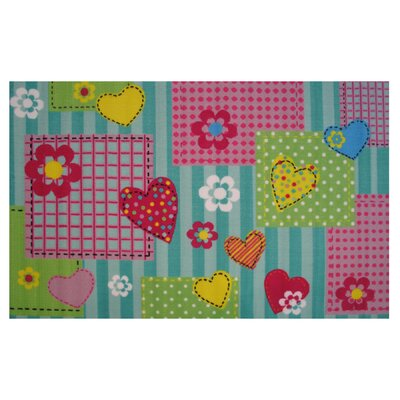 Fun Time Hearts and Flowers Area Rug Rug Size: 33 x 410