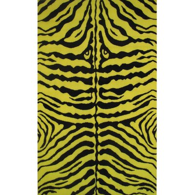 Fun Time Yellow Zebra Skin Area Rug Rug Size: 17 x 25