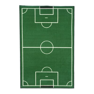 Fun Time Soccer Field Sports Area Rug Rug Size: 33 x 410