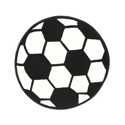 Fun Shape High Pile Soccerball Sports Area Rug Rug Size: Round 33