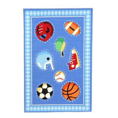 Olive Kids Go Team! Sports Blue Area Rug Rug Size: 17 x 25
