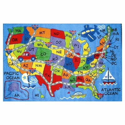 Corina Travel Map Area Rug Rug Size: 8 x 11