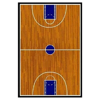 Supreme Basketball Court Sports Brown Area Rug Rug Size: 53 x 76