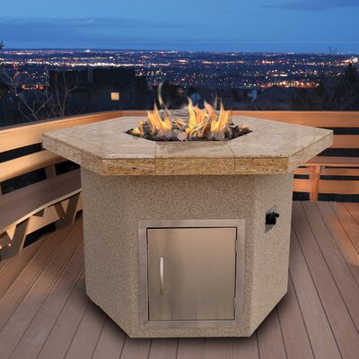 Calflame Fpt H402 1 W Dining Height Hexagon Gas Fire Pit Table