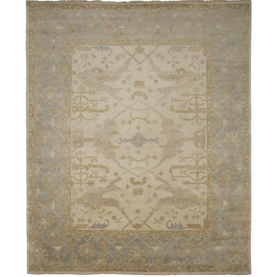 Oushak Hand-Knotted Blue/Beige Area Rug Rug Size: 8 x 10
