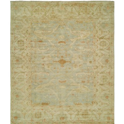 Oushak Hand-Knotted Beige/Blue Area Rug Rug Size: 4 x 6