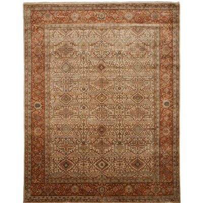 Cambridge Hand-Knotted Beige Area Rug Rug Size: 10 x 14