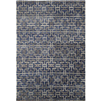 Urban Hand-Knotted Blue/Gray Area Rug Rug Size: 10 x 14