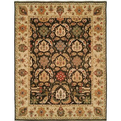 Royal Zeigler Hand-Knotted Beige/Black Area Rug Rug Size: Runner 26 x 9