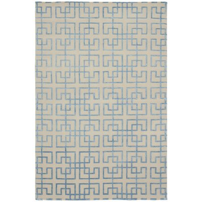 Broadway Hand-Knotted Beige/Blue Area Rug Rug Size: 6 x 9