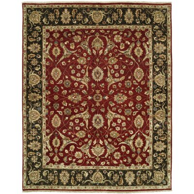 Royal Zeigler Hand-Knotted Black/Red Area Rug Rug Size: 4 x 6