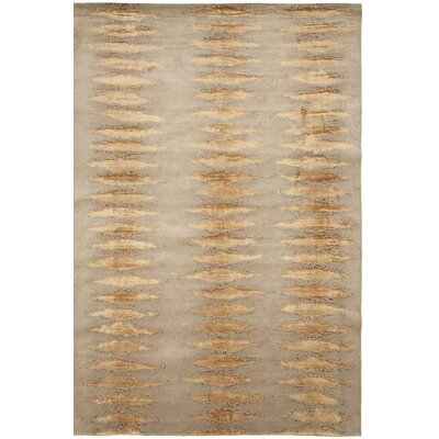 Broadway Hand-Knotted Gray/Beige Area Rug Rug Size: 4 x 6