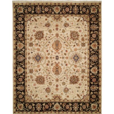 Royal Zeigler Hand-Knotted Beige/Black Area Rug Rug Size: Runner 26 x 12