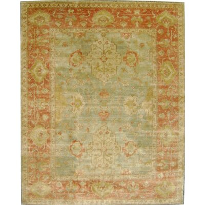 Ottoman Hand-Knotted Orange/Green Area Rug Rug Size: 10 x 14