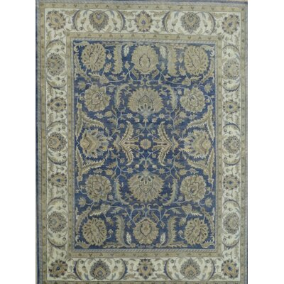 Ottoman Hand-Knotted Blue/Beige Area Rug Rug Size: 6 x 9