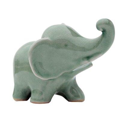 Trunk Up Celadon Elephtant Figurine